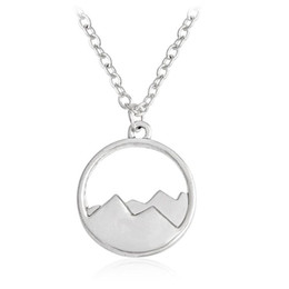 Wholesale Sister Girls - 2017 New Fashion Silhouette Snow Mountain Round Pendant Charm Necklace Sisters Girls Kids Family Gift EFN044-F