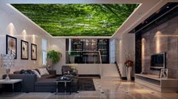 Wholesale Insulation Soundproofing Materials - Wallpaper 3d Nature Green Forest Landscape Soundproof Ceiling 3D Wallpaper Living Room Room Home Improvement Ceiling Murals