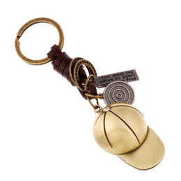 Wholesale Baseball Antiques - Creative Key Buckle Gifts For Men And Women Alloy Baseball Cap Antique Woven Leather Pendant for car key ring keychain chain
