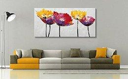 Decoración contemporánea online-Pintura al óleo sobre lienzo pintado a mano abstracta de la flor de la lona de arte de pared modernos ilustraciones de colores de la decoración floral de la sala de estar No Frame
