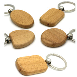 Wholesale Round Wood Plate - DIY Blank Wooden Key Chain Promotion Rectangle Heart Round Ellipse Carving Key ring Wood Key Chain Ring