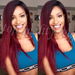 Wholesale Dark Wine Color Hair - 2 Tones Ombre Burgundy Red Synthetic Lace Front Wig Silk Straight Ombre Wigs Dark Roots Wine Red Wigs Heat Resistant Fiber Hair Wigs