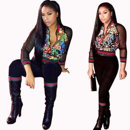Wholesale Plus Size Floral Pants - Women's Two Piece Sets Sexy Floral Print Mesh Long Sleeve Short Jacket and Pants Suits Plus Size Sweatsuit Sportswear