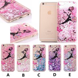 Wholesale Butterfly Backing - Luxury TPU Soft Side Butterfly Girl Glitter Quicksand Liquid Phone Back Case for Iphone 6 6s 6 plus 6s plus 7 7Plus