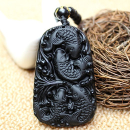Wholesale Lucky Fish Pendant - 2016New Natural Obsidian Carved fish Lucky Pendant Free Amulet Necklace Fine Jade Crystal Jewelry Gift