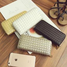 Wholesale Braided Handbag - leather wallet braided pattern long ladies zipper wallets fashion money purse gold silver handbags