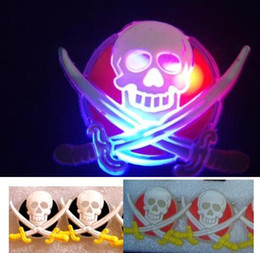 Wholesale Led Flash Badge - Flash JACK Pirate Skull Swords Brooch Pin LED Light Glow Badge Clips Halloween Xmas Kids Costumes Props Party Favor Toy gift