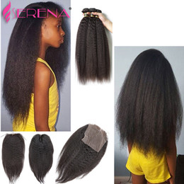 Wholesale afro kinky straight human hair - Peruvian Virgin Afro Kinky Straight Coarse Yaki Human Hair Weave with Closure Italian Light Yaky Hair Bundles with Lace Closures