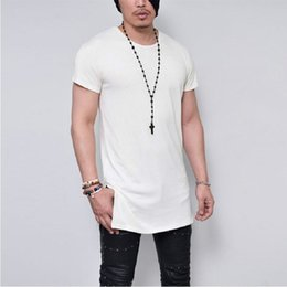 Wholesale Plain Black Tees - Summer Men's Short Sleeve Long Style Solid Black White Gray Plain T shirt High Quality T shirts Men HipHop Tee Tops