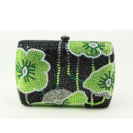 Wholesale Cheap Small Phones - Wholesale- Canada Hot Sale Woman Handbag Green Mini Box Clutch Bag Rhinestone Floral Small Clutch Purse Crystal Evening Bags Cheap Sale