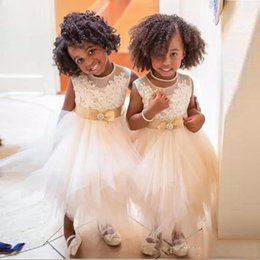 Wholesale Green Skirts For Toddler - Lovely 2017 Ivory Lace Top Tulle Skirt Toddler Flower Girls Dresses For Weddings Cheap Jewel Champagne Bow Sash Holy Communion Gown