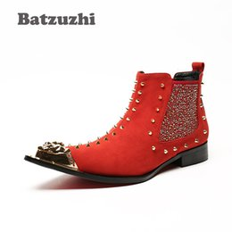 Wholesale Short Boots For Men - Batzuzhi Personality Rivets Knight Boots Men Western Style Pointed Toe Leather Short Boot Men Bar, DJ, Stage Party Boots for Men