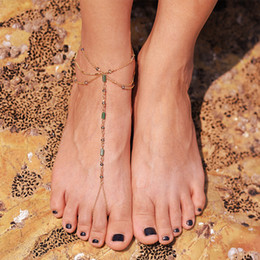 Wholesale Green Alexandrite - Summer Bohemia Style Beach Basic Anklets Creative Original Design Exquisite Handmade Anklets Foot Ornaments Anklets Jewelry Factory Price