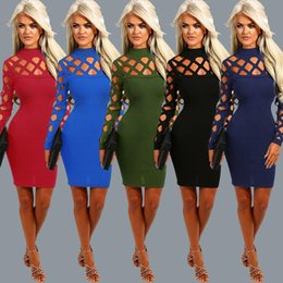 Wholesale Vintage Fashion Clothing Ladies - Fashion Hollow Out Burning Flower Bandage Skirt Maxi Dress Long Sleeves Goods In Stock Clothing Ladies Casual Dresses For Women Clothes