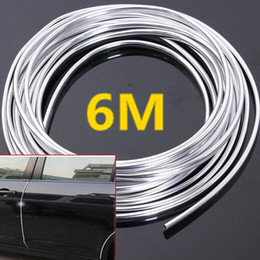 Wholesale Chrome Strips - 6M Chrome Moulding Trim Strip Car Door Edge Scratch Guard Protector Cover Strip Roll Fits Most Universal Car All Models CDE_00L