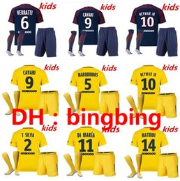 Wholesale Paris Kids - 2017 2018 Best Quality Paris kids Football jersey 17 18 Saint Di Maria Matuidi Silva WIJNALDUM FIRMINO Cavani Football shirt + sock