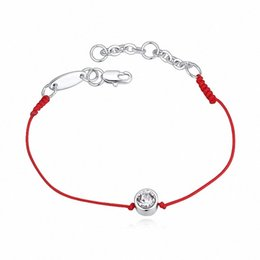 Wholesale Thin Chain Bracelets For Women - Wholesale-Crystal From Austrian jewelry thin red thread string rope Charm Bracelets for women Fashion summer style