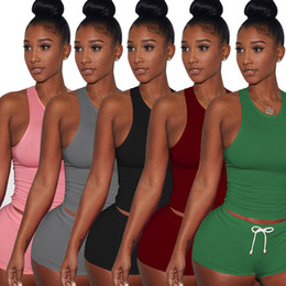 Wholesale Sexy Revealing - Fashion street tight sleeveless gym shorts sexy revealed round collar sport suit running backless straight leg Women's TracksuitsS - 2 xL