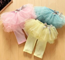 Wholesale Culottes Leggings - 2017 Fashion Baby Girl Culottes Leggings Gauze Pants Party Skirts Bowknot Tutu Skirts Blue Pink Yellow G337