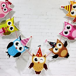 kids craft room Promo Codes - Wholesale- The Owl Garland Kids Birthday Banners Party Decorations Baby Showers Children Room Crafts Cartoon Animal Hanging Supplies