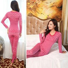 Wholesale Thermal Women Pajama - Wholesale- sleepwear women pajamas set o-neck jacquard long pajama suit Winter Warm soft floral bodycon women thermal underwear suit autumn