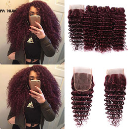 Wholesale Low Price Weave Hair - Brazilian virgin hair extension low price burgundy human hair bundles with closure brazilian wine red deep wave weave closure with bundles