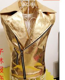 Wholesale Leather Jacket Gold - Wholesale- 2015 GD Punk Style Cool Men's Fashion Ds Costumes Dance Paillette Shiny Gold Silver Leather Vest Jacket Personality Waistcoats