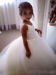 Wholesale Communion Dresses Lace Bodice - 2017 Puffy White Ball Gown Applique Lace Bodice Tulle Flower Girls Dresses Spaghetti Straps Little Baby Weddings Party Gowns