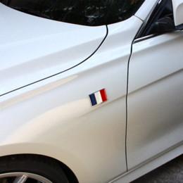 Wholesale France Flag Sticker - USA UK Gremany France Italy Sweden National flag emblem DIY metal car sticker body cover car Tail box labeling car styling