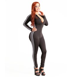 Wholesale Black Hooded Bodysuit - 2017 Autumn Casual Women One Piece Jumpsuits Long Sleeve Bodycon Front Zipper Hooded Pants Sexy Outfits Black Rompers Bodysuit