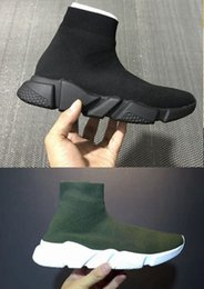 Wholesale Black Toe Socks Men - Original quality+With box Speed Trainer shoes sneaker tess High help Socks shoes women men Casual shoes All black green Slip-On