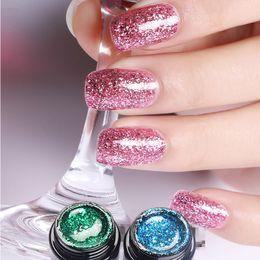 Wholesale Diamond Pearl Nail Art - Super Color Gel Paint Lacquer 10ml Nail Art Glitter Pearl Diamonds Soak off Platinum UV LED Gel Nail Polish