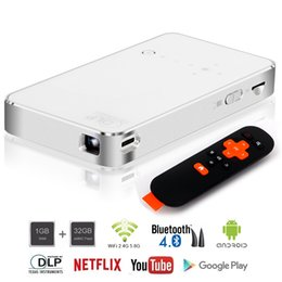 Wholesale Projector Wifi - DLP mini smart projector 32GB Portable Android Wireless Home Theater Dual Wifi Connection HDMI IN 1080P Miracast and Airplay Function