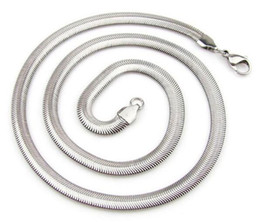 """Wholesale 6mm Stainless Snake Chain - High Quality Width 3mm 4mm 5mm 6mm 8mm 10mm 316L Stainless Steel Flat Snake Soft Flexible Chain Necklace (18""""-22"""" inches)"""