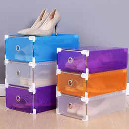 Wholesale Multifunction Plastic Shoe Box Colorful Rectangle Storage Drawers Household DIY Organizer Storage Shoes Boxes Case ZA3109