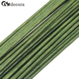 fiori di gambo di filo Sconti Wholesale- 2 # 2mm 40cm lunghezza pacchi di carta o pvc verde con filo stelo fiore artificiale (100 pz / lotto)