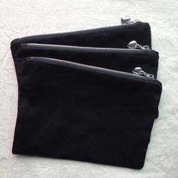 Argentina bolsa de maquillaje de lona de algodón negro con forro de color a juego cremallera de plata de calidad superior con bolsa de algodón de pulido en blanco para imprimir / pintar de bricolaje cheap black silver paint Suministro