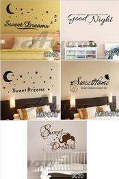 Wholesale Headboard Wall Sticker - Sweet Dream Quote Wall Decals Removable Vinyl Sticker Home Decor Butterflies Wall Stickers Headboard Romantic Decoration