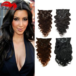 Wholesale Body Wave Hair Extension Clips - Hannah Unprocessed Body Wave Human Hair Clip In Extensions 10pcs set Full Head 120g Indian Virgin Hair Clip In Human Hair Extension