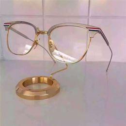 Wholesale Eyeglasses Luxury For Men - luxury brand glasses Prescription TB104 double color frame vintage optical for men design clear glass metal square frame thom eyeglasses