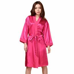 Wholesale- Plus Size Women s Robe Kimono Bath Gown Yukata Nightgown Lady  Faux Silk Sleepwear Sleepshirts Pijama Mujer Hot Pink Ttg01 e676ba35e