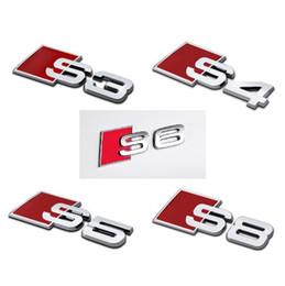 Металлические эмблемы алюминий онлайн-3D алюминиевого сплава S3 S4 S5 S6 S8 S8 S линия автомобиля хвост наклейка эмблема знак логотип металл задний хвост значок наклейка логотип для Audi эмблема автомобиля