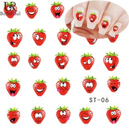 Wholesale Strawberry Sheets - Wholesale-1 sheet Funny Strawberry Water Transfer Nail Art Sticker Watermark Decals DIY Decoration Foils Polish Wraps Nail Tools ST06