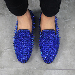 Wholesale Silver Spiked Loafers - Luxury Brand Designer Prom Wedding Shoes Man Shining Glitter Spiked Loafers Men Rivet Studded Shoes Casual Blue Green Black Red Silver Gold