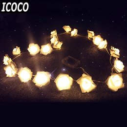 Wholesale Battery Powered Rose Light - Wholesale- ICOCO 2M 20LED Battery Powered LED String Lights Rose Flower Party Event Christmas Birthday Decorative String Light
