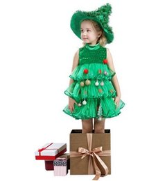 Wholesale Carnival Hats Wholesale - 2016 Christmas Tree Cosplay Special Costumes Children Girls Sleeve Tutu Green Dress With Hat Decoration Xmas Dresses B4407