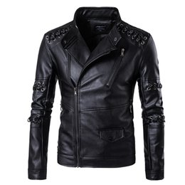 Wholesale Motorcycle Detailing - Men's Leather Jacket Motorcycle Leather Jacket Braided Detail Male Fashion Casual Stand Collar Solid Slim Mens Leather Jacket M-5XL free DHL