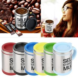 Wholesale Automatic Coffee Mixing Cup - 400ml Self Stirring Coffee Cup Mugs Double Insulated Mug Automatic Electric Coffee Cups Smart Mugs Mixing Coffee Handgrip Cups with 6 colors