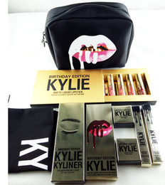 Wholesale Korean Cartoon Suits - Kylie Golden Box Gloss Suits Makeup Gift Box Bag Birthday Collection Cosmetics Birthday Bundle Bronze Kyliner Copper Creme Shadow Brow Brush