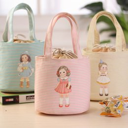 Wholesale Lunch Bag Ice Pack - Lovely Doll Canvas Stripe Waterproof Lunch Insulation Bag Ice Packs Multi-function Thermal Food Picnic Isothermic Bags LUNB-04